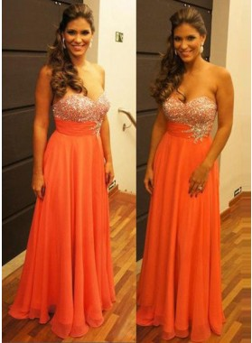 Water Melon Sweetheart Beading Zipper Sleeveless Floor-Length/Long Chiffon Orange Prom Dresses