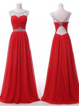 2019 Gorgeous Red Floor-Length/Long Backless Beading A-Line/Princess Chiffon Prom Dresses