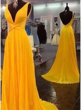 Floor-Length/Long A-Line/Princess V-Neck Ruffles Chiffon Prom Dresses