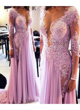 Floor-Length/Long A-Line/Princess V-Neck Appliques Chiffon Prom Dresses