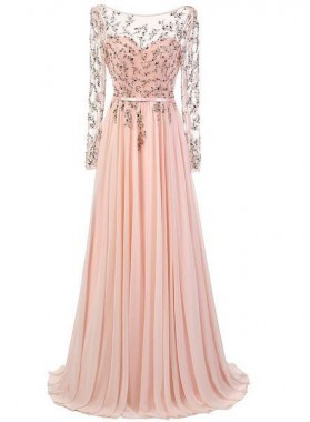 Beading Long Sleeve Floor-Length/Long A-Line/Princess Chiffon Prom Dresses