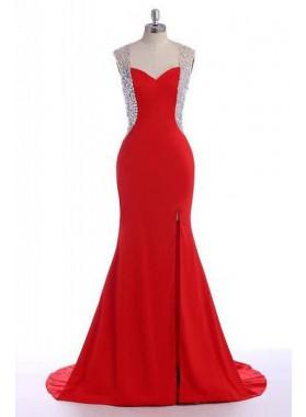 2019 Gorgeous Red Floor-Length/Long Crystal Mermaid/Trumpet Sweetheart Satin Prom Dresses