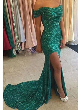 Column/Sheath Off-the-Shoulder Sleeveless Natural Sequins Prom Dresses