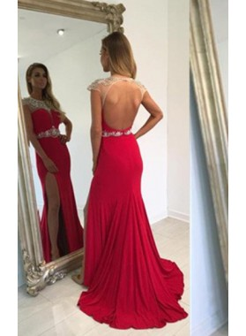 2019 Gorgeous Red Floor-Length/Long Capped Sleeves Split Backless Beading Prom Dresses