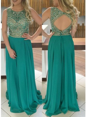 Jewel Natural Sleeveless Beading A-Line/Princess Chiffon Hunter Prom Dresses