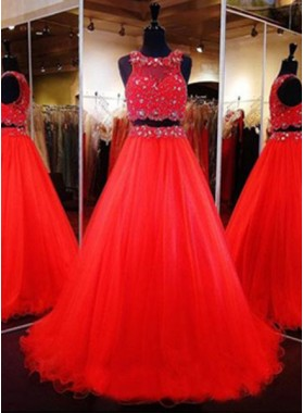 2019 Gorgeous Red Floor-Length/Long A-Line/Princess Beading Two Pieces Tulle Prom Dresses