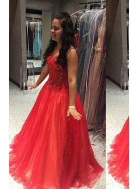 2019 Gorgeous Red Beading Sleeveless Ball Gown Tulle Prom Dresses
