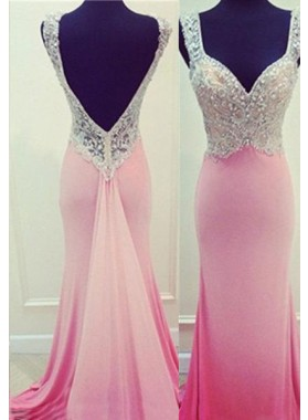 Floor-Length/Long Column/Sheath Straps Stretch Satin 2019 Glamorous Pink Prom Dresses