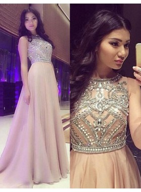 Cheap Prom Dresses Champagne Long Sleeveless A-Line/Princess Beading Chiffon