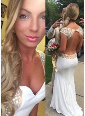 2019 Unique White Sleeveless Backless Beading Chiffon Prom Dresses