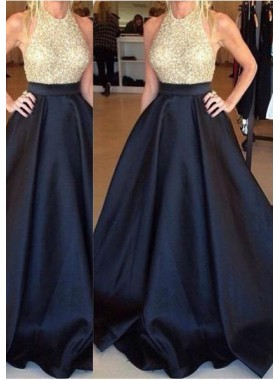 Dark Navy Floor-Length/Long A-Line/Princess Floor-Length/Long Taffeta Prom Dresses