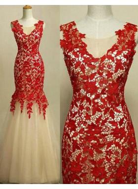 Floor-Length/Long Mermaid/Trumpet Appliques Tulle Prom Dresses
