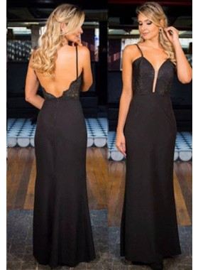 2019 Junoesque Black Spaghetti Straps Backless Natural Floor-Length/Long Column/Sheath Prom Dresses
