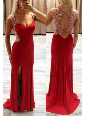 2019 Gorgeous Red Column/Sheath Sleeveless Natural Backless Split Front Prom Dresses