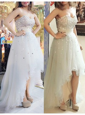 Sweetheart Beading Sweep Train Tulle Prom Dresses