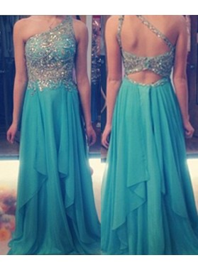 One Shoulder Beading Backless Layers A-Line/Princess Chiffon Prom Dresses