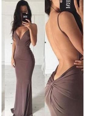 Column/Sheath V-Neck Sleeveless Natural Backless Prom Dresses