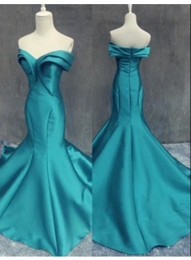 Floor-Length/Long Sweetheart Mermaid/Trumpet Satin Prom Dresses