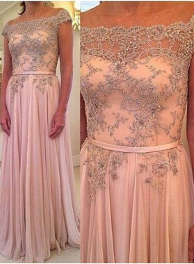 A-Line/Princess Off-the-Shoulder Natural Zipper Floor-Length/Long Chiffon Pearl Pink Prom Dresses