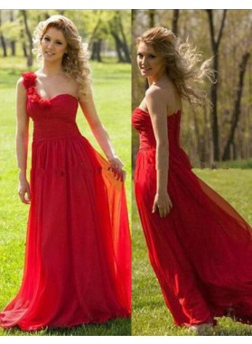 2019 Gorgeous Red A-Line/Princess One Shoulder Sleeveless Natural Chiffon Prom Dresses