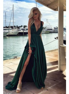 Sexy V-Neck Split Front Sweep Train Chiffon Dark Green Prom Dresses