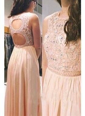 Floor-Length/Long Backless A-Line/Princess Beading Chiffon 2019 Glamorous Pink Prom Dresses