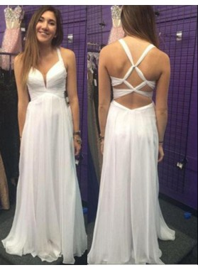 2019 Unique White Straps A-Line/Princess Chiffon Prom Dresses