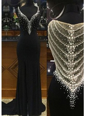 2019 Junoesque Black Floor-Length/Long Column/Sheath V-Neck Stretch Satin Prom Dresses