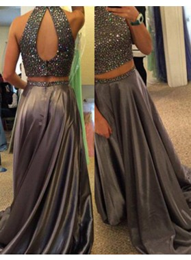 Floor-Length/Long A-Line/Princess High Neck Two Pieces Satin Light Slated Grey Prom Dresses