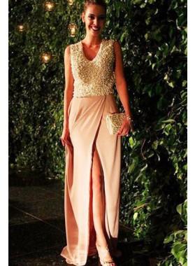 A-Line/Princess V-Neck Sleeveless Natural Floor-Length/Long Chiffon Prom Dresses