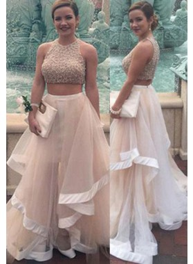 Floor-Length/Long A-Line/Princess Round Neck Beading Layers Tulle Prom Dresses