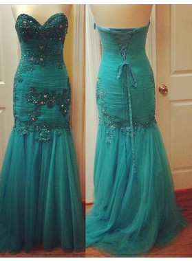 Prom Dresses Sweetheart Beading Lace Up Mermaid/Trumpet Tulle