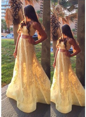 A-Line/Princess Sleeveless Natural Appliques Sweep/Brush Train Yellow Prom Dresses