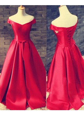 2019 Gorgeous Red Floor-Length/Long A-Line/Princess Off-the-Shoulder Lace Up Satin Prom Dresses