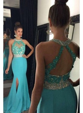 LadyPromDress 2019 Blue Floor-Length/Long Mermaid/Trumpet Lace Split Front Chiffon Prom Dresses