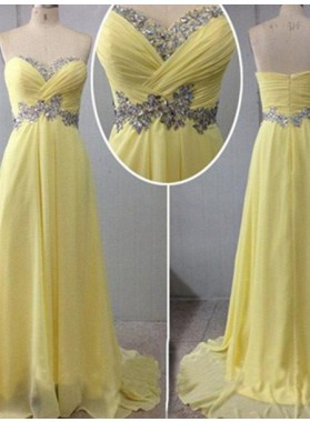 Floor-Length/Long Sweetheart A-Line/Princess Backless Chiffon Prom Dresses