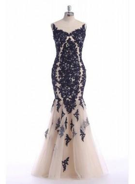 Cheap Prom Dresses Mermaid/Trumpet Appliques Tulle