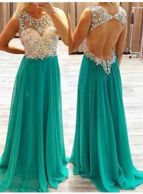 A-Line/Princess Sleeveless Natural Backless Beading Chiffon Teal Prom Dresses