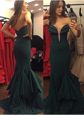 Mermaid/Trumpet Sweetheart Sleeveless Natural Zipper Chiffon Dark Green Prom Dresses