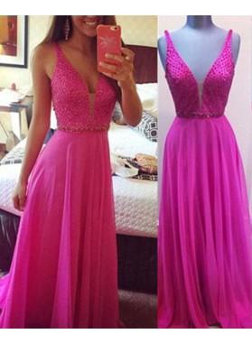 Floor-Length/Long A-Line/Princess V-Neck Chiffon Fuchsia Prom Dresses