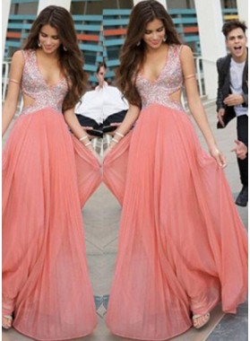 Floor-Length/Long V-Neck A-Line/Princess Sequins Chiffon Prom Dresses