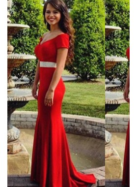 2019 Gorgeous Red Off-the-Shoulder Beading Mermaid/Trumpet Satin Prom Dresses