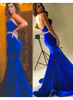 Royal Blue Beading Strapless Mermaid/Trumpet Velevt Prom Dresses