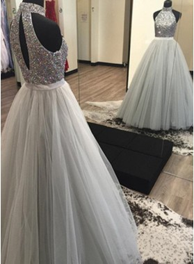 2018 Unique White Beading Halter Tulle Prom Dresses
