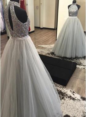 2019 Unique White Beading Halter Tulle Prom Dresses