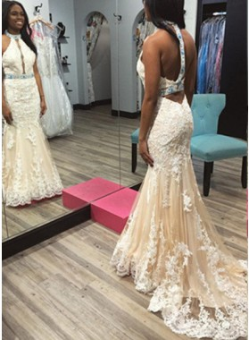2018 Unique White Appliques Halter Tulle Prom Dresses