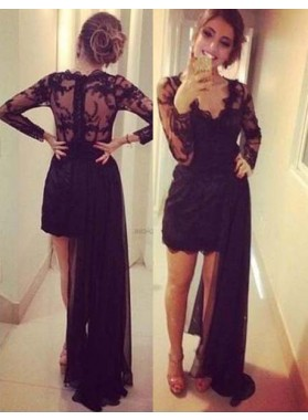 2019 Junoesque Black Long Sleeve Column/Sheath V-Neck Appliques Prom Dresses