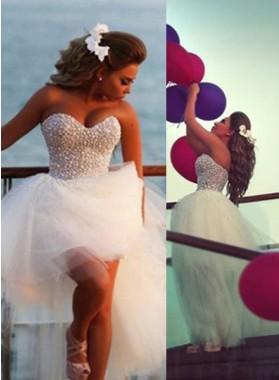 2018 Unique White Floor-Length/Long A-Line/Princess Sweetheart Beading Short/Mini Tulle Prom Dresses