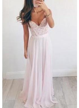 Straps Natural Lace Sleeveless A-Line/Princess Chiffon Prom Dresses