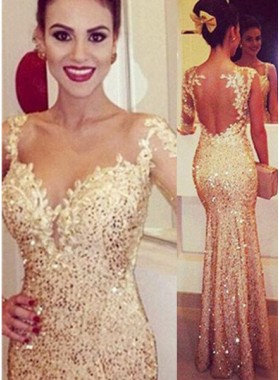 Floor-Length/Long Mermaid/Trumpet Sequined Prom Dresses